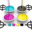Stock Photo: CMYK liquid inks and target