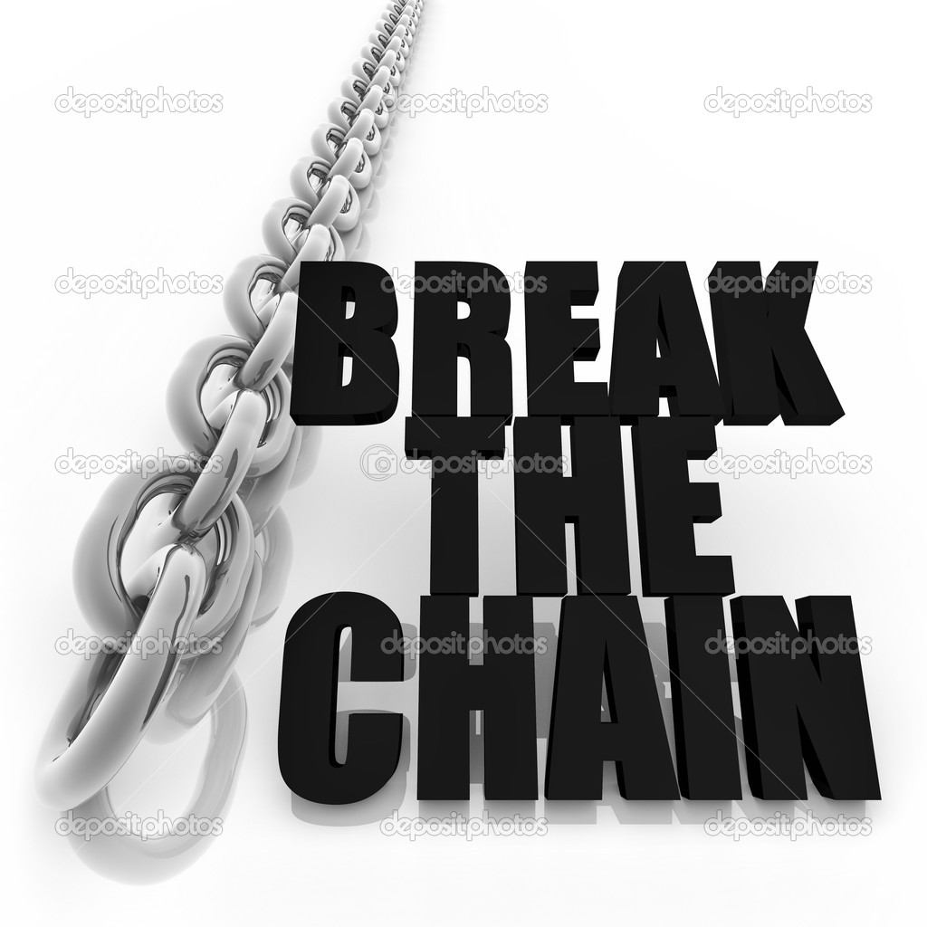 Chromed metal chain and message on white background, freedom concept image — Stock Photo #10466488