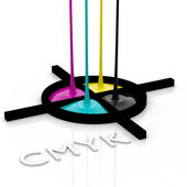 CMYK liquid inks and registration mark — Stock Photo