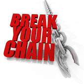 Broken chrome chain and freedom concept — Foto Stock