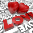 Valentine hearts and love word — Stock Photo