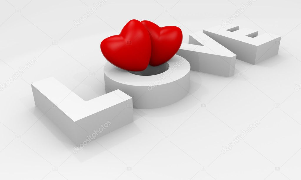 Valentine card with 3d hearts and Love text — Stock Photo #8638278