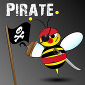 Pirate bee - Kid Illustration — Vettoriale Stock