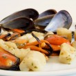 Stock Photo: Italifood: gnocchi with mussels