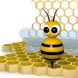 Bee and honeycomb — Stock Photo #9270522
