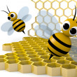 Bee and honeycomb — Stock Photo