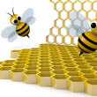 Stock Photo: Bee and honeycomb