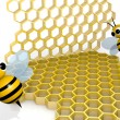 Stok fotoğraf: Bee and honeycomb