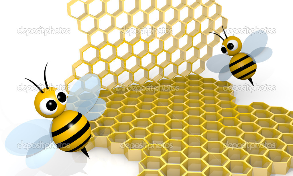 Bee with honeycombs, 3d rendering cartoon style — Stock Photo #9295090