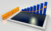 Renewable energy, solar panel with chart — Stock Photo