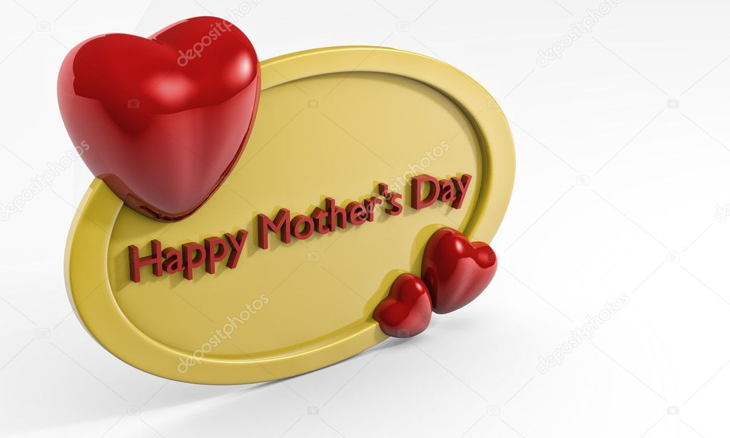 Mother's day greetings, 3D frame with hearts — Stock Photo #9672991