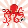 Japan octopus sushi feast - Stock Vector