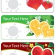 Set of banners with vector fruits hearts — Stock Vector
