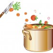 Cooking soup with vegetables — Stock Vector #9448357