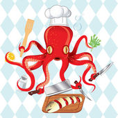 Octopus cooking sushi and fish — Stock Vector