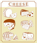 Vector clipart collection of cheese — Stock Vector