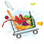 Flying trolley at the supermarket — Stock Vector