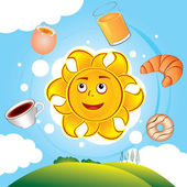Happy cartoon sun cooked breakfast — Stock Vector