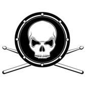 Vector jolly Roger drum skull with drumsticks — Stock Vector