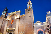Merida cathedral at night , Yucatan Mexico — Stock Photo