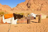Berber tents in the Wadi Rum desert (Jordan) — Stock Photo