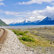 Railroad tracks running through Alaskan landscape — Lizenzfreies Foto