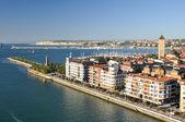 Pohled z mostu bizkaia, bizkaia, portugalete, španělsko — Stock fotografie