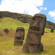Stock Photo: Moais at Rano Raraku volcano, Easter island (Chile)
