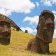 Moais at Rano Raraku, Easter island (Chile) - Stock Photo