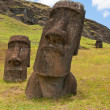 Moais at Rano Raraku volcano, Easter island (Chile) — Stock Photo