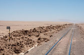Train tracks in the desert of chile — Stock Photo