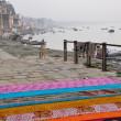 Saris on the stairs in Varanasi, India. — Stock Photo
