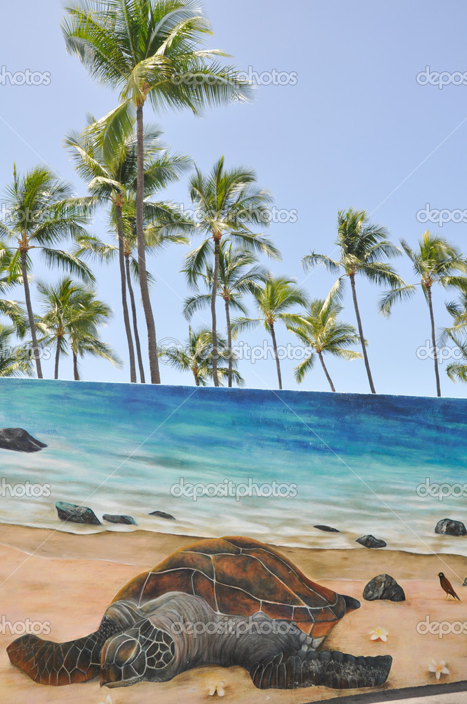 Mural with a hawaiian green sea turtle stock photo for Mural go green