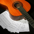 Royalty-Free Stock Photo: Guitar and music sheet