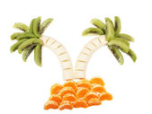 Palm Tree made of different fruits — Stock Photo