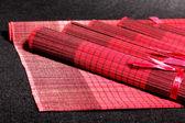 Abstraktní červená asijské stůl mat sada — Stock fotografie