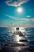 Dock on the open sea — Stock Photo