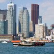 Stock Photo: CN Tower. Toronto skyline from Ontario lake