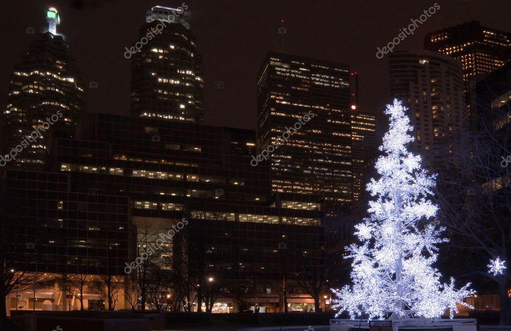 Christmas tree in a park on Toronto skyscraper background — Stock Photo #10657831