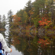Stock Photo: Fall canoeing