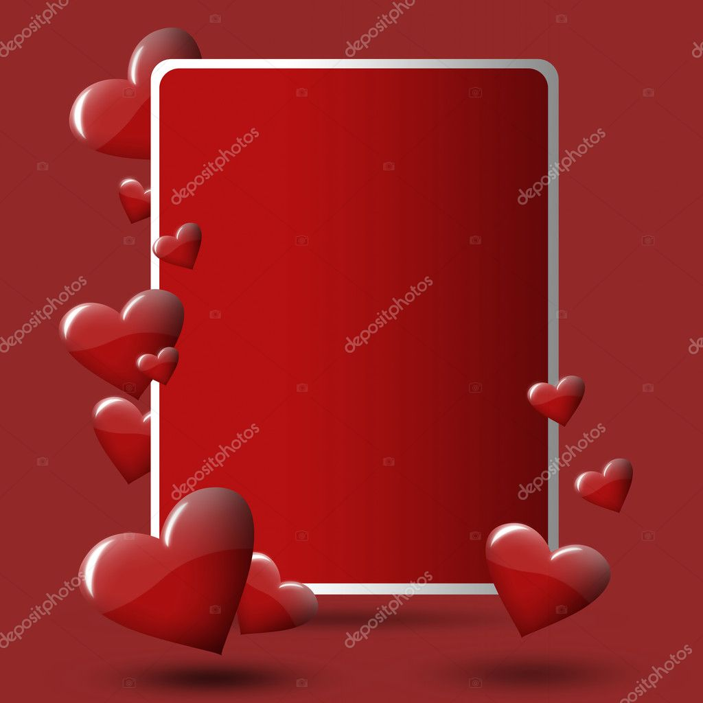 Red valentine's card with hearts with red background.  Stock Photo #8849192
