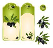 Black olive label — Stock Vector