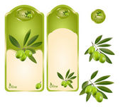 Green olive label — Stock Vector