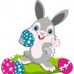 Easter Bunny width eggs — Stock Vector #9829669