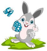 пасхальный кролик и яйца — Cтоковый вектор