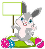 Easter Bunny width a board — Stock Vector