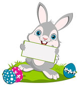 Easter Bunny and a card — Stock Photo