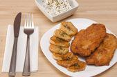 Breaded chicken fillet — Stock Photo