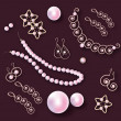 Vector set of pearl jewelry - Stock Vector
