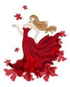 Beautiful girl in red dress — Stock Vector